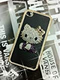 Hello Kitty Luxury Black leather Rhinestone Crystal Case Cover for iPhone 4 4S
