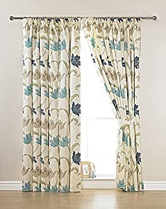 "CORK FLORAL CREAM BLUE 66"" x 72"" LINED PENCIL PLEAT CURTAINS #ELASNIK by PCJ Supplies"