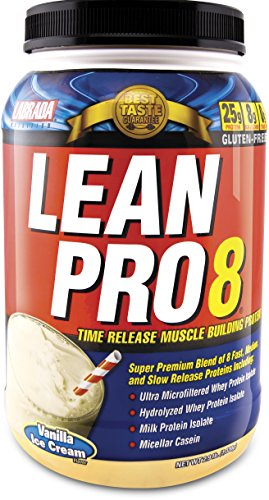 Labrada Nutrition Lean Pro 8, Super Premium Protein Powder with Whey Isolate & Casein for All-Day Lean Muscle Support, Vanilla Ice Cream, 2.9 Pound (On Whey Protein Vanilla Ice Cream compare prices)