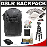 """Vivitar Series One Digital SLR Camera/Laptop Sling Backpack – Small (Black) Holds Most 14′"""" Laptops with 10″ Spider Tripod + Camera & Laptop Cleaning Kits for Nikon D3100, D3200, D5000, D5100, D7000, D700, D800, D4 Digital SLR Cameras"""
