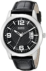 GUESS Men's U0494G6 Retro Silver-Tone Watch with Black Genuine Leather Strap and Dial and Date Function