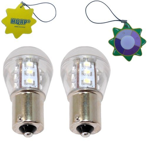 Hqrp 2-Pack Ba15S Bayonet Base 15 Leds Smd 3528 Led Bulb Cool White For #93 #1141 #1156 Rv Interior / Ceiling / Porch Lights Replacement + Uv Meter