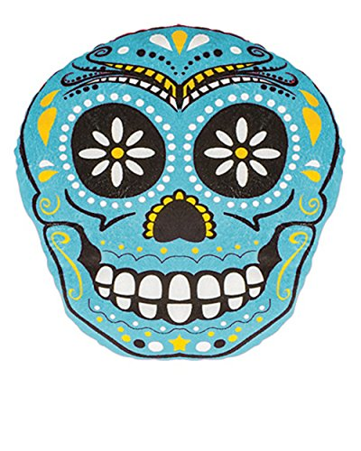Day Of The Dead Mexican Blue Skull Pillow Halloween Decoration Accessory