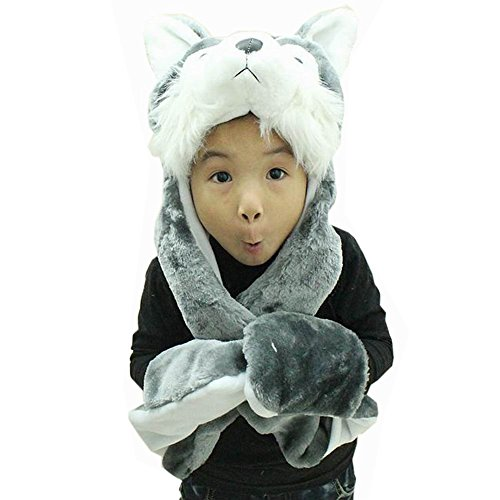 Hee Fly Plush Animal Winter Hats with Paws Type Wolf