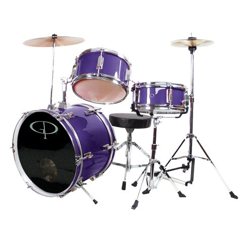 GP Percussion GP50MPR Complete Junior Drum Set (Purple, 3-Piece Set)