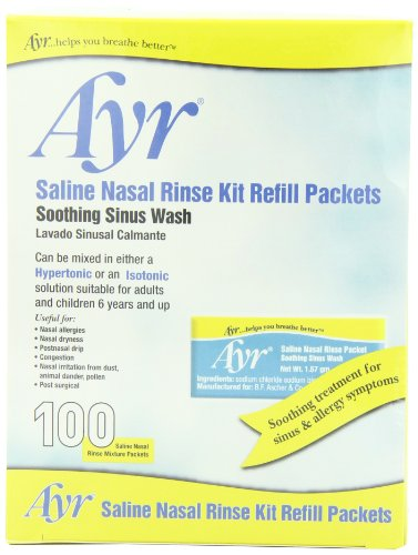 Ayr Saline Nasal Rinse Kit Refill Packets, 100-Count Packets (Pack of 2)
