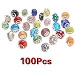 SODIAL(R) 100pc Lot Silver Lampwork M...