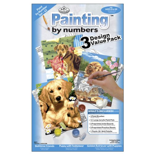 Royal & Langnickel Painting by Numbers Junior Small 3-Piece Art Activity Kit, Dogs Set - 1
