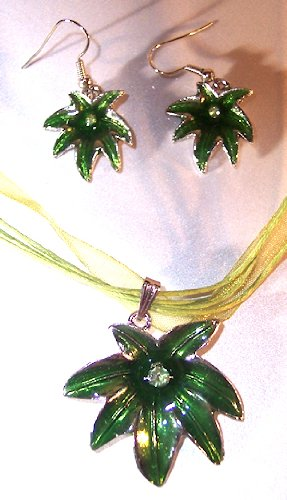Green Silvertone with Green Enamel Leaf Necklace and Earring Set Nickle Free