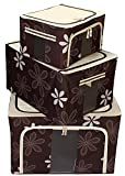 Super Combo!! BlushBees Set of 3 Saree/Lehenga/Woolens Storage Organiser with Steel Frames. (Brown)