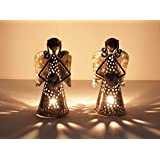 Home And Bazaar Traditional Metal Angel Tea Light Set Of 2 Size 4x4x7.5Inch / 10x10x18.75Cm