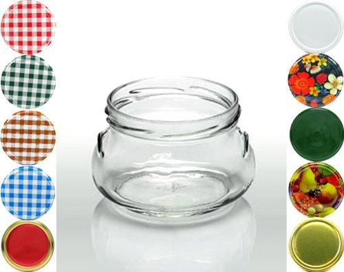 Cap+Cro - 30 x Bocal de conservation verre terrine - 290 ml (9.8 oz) - couleur couvercle: quadrillée rouge-blanc