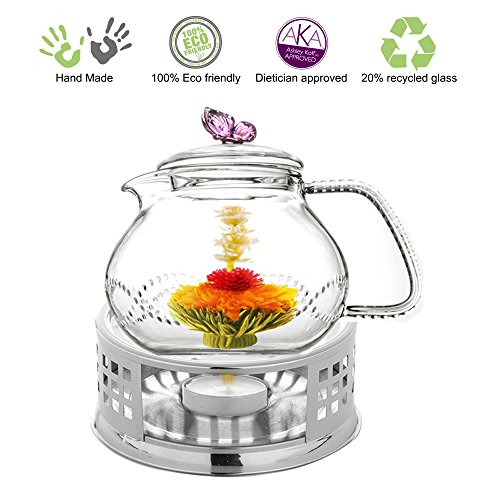 Teapot Set Teapot Pink Butterfly 24 Oz and Stainless Steel Tea Warmer Alex for Flowering Tea Green Tea Black Tea Puer (Butterfly Glass Teapot compare prices)