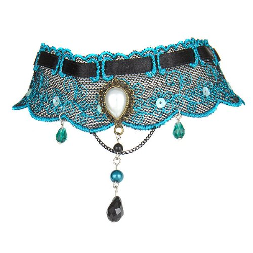 Beautiful Victorian Style Turquoise and Black Lace Choker Vintage Necklace