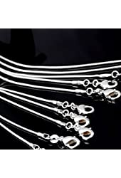 "BAQI 10pcs 24"" 24 Inch 925 Silver Plated 1.2MM Snake Chain Necklace New"