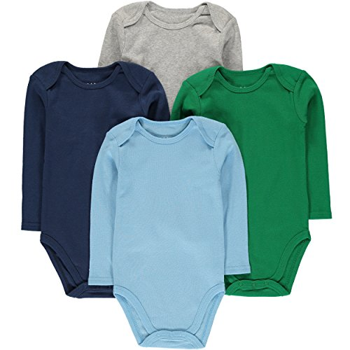 Wan-A-Beez Unisex Baby 4 Pack Long-Sleeve Bodysuits (12 Months, Solid Multi)