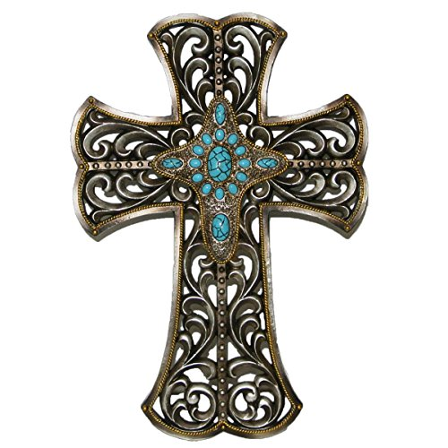 CROSS IN SILVER AND TURQUOISE WITH GOLD TRIM