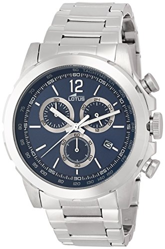 Lotus Men's Quartz Watch with Blue Dial Chronograph Display and Silver Stainless Steel Bracelet 15855/2