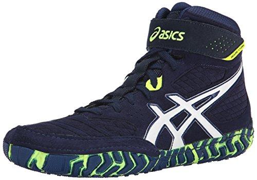 ASICS Men's Aggressor 2 Wrestling Shoe, EST Blue/White/Flash Yellow, 10 M US