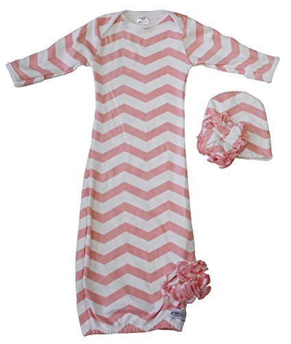 Woombie Indian Cotton Gowns Plus Hat, Pink Chevron, 16-23 Lbs