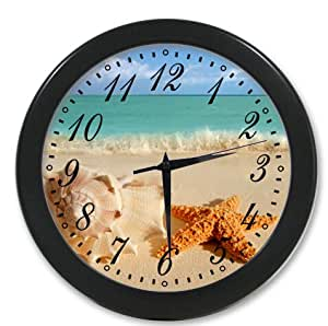 Home Decoration Living Room Decal Wall Clock Beach Sea Ocean Shell Starfish Nature