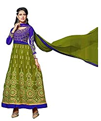 Pari Presents Multi Embroidered And Embellished Soft Net,Art Silk Two In One Unstitched Dress Material(Mahendi Green,Blue)