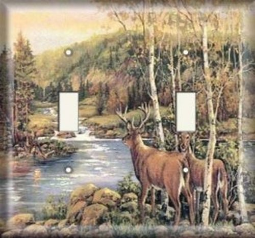 Double Light Switchplate Cover - Deer Creek