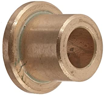 Bunting Bearings CFM006010010 Sleeve (Flanged) Bearings, Cast Bronze C93200 (SAE 660), 06mm Bore x 10mm OD x 10mm Length - 14mm Flange OD x 2mm Flange Thk