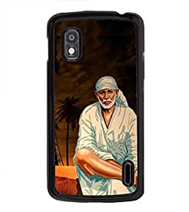 Fuson Premium 2D Back Case Cover Lord sai baba With Yellow Background Degined For LG Google Nexus 4