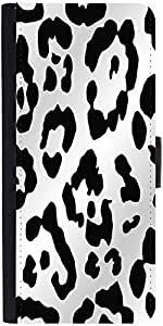 Snoogg Leopard Skin White And Black Designer Protective Phone Flip Case Cover For Samsung Galaxy E5