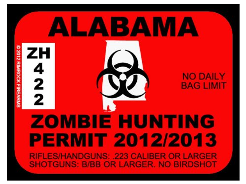 Alabama Zombie Hunting Permit 2012 (Bumper Sticker)