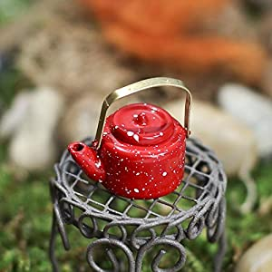 Dolls House Miniature Kitchen Accessory Red Kettle 085