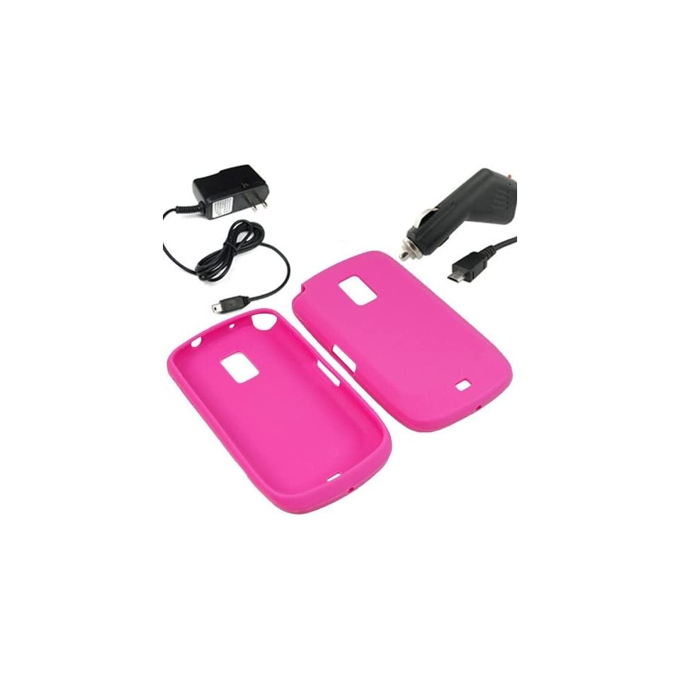 BW Silicone Sleeve Gel Cover Skin Case for MetroPCS Samsung Galaxy S Lightray 4G R940 + Car + Home Charger Magenta Pink