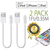 [Apple MFi Certified] Avantree 2 Pack Short Lightning Cable 1Ft / 0.35M For IPhone 5 6 6s IPod IPad, High Speed...