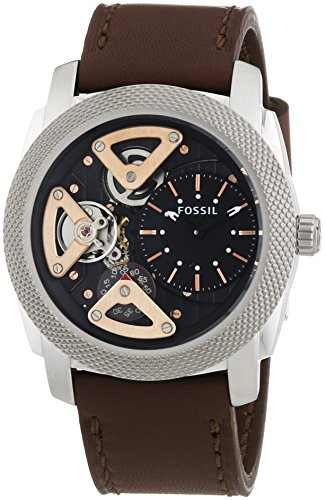 Fossil Machine Twist - Reloj de cuarzo para hombre, correa de cuero color marrón