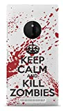 Nokia Lumia 830 Case - Ultra Slim Hard Cover (PC) White with Funny Keep Calm and Kill Zombies Design