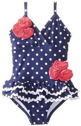 Hartstrings Little Girls'    Polka Dot Ruffle Skirt One Piece Swimsuit, Blue White Print, 4