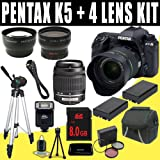 516M%2B7WCwGL. SL160  Pentax K 5 16.3 MP Digital SLR with 18 55mm Lens and 3 Inch LCD and 50 200mm f/4 5.6 Lenses (Black) + Two DLI90 Battery + 8GB SDHC + Wide Angle / Telephoto Lenses DavisMAX Accessory Kit Bundle