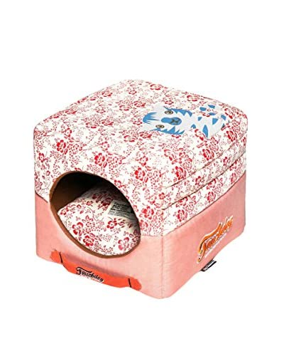 Touchdog Floral-Galore Convertible/Reversible Squared 2-in-1 Collapsible Dog House Bed, Red/Salmon P...