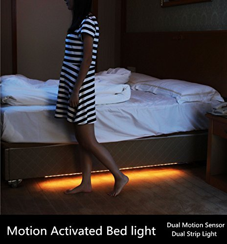 Amagle Led Motion Activated Night Light, Flexible LED Strip Sensor Automatic Bed Light for Bedroom (Dual Sensor) (Foot Activated Timer compare prices)