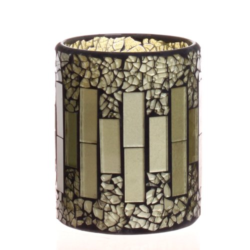Dfl 3*4 Inch Grey Crack Pattern Mosaic Glass With Flameless Led Candle With Timer,Work With 2 Aa Battery