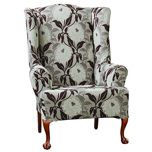 Sure Fit Stretch Dhalia Wing Chair Slipcover, Espresso front-934288