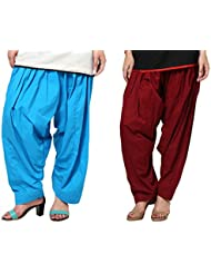 Aashish Fabrics Pack Of 2 Women Patiala Salwar, Maroon And Turquoise (Free Size)
