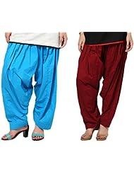 Aashish Fabrics Pack Of 2 Women Patiala Salwar, Maroon And Turquoise (Free Size)