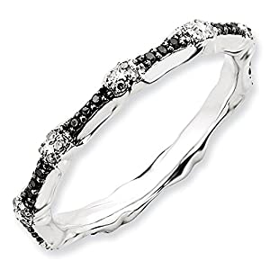 2.5mm Sterling Silver Multi Black and White Diamond Prong Set Eternity Anniversary Ring Band - Size 6