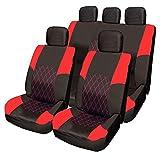 VW Golf MK1 MK2 MK3 MK4 MK5 RED & BLACK Cloth Seat Cover Set Split Rear Seat