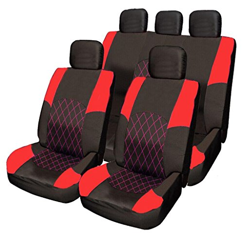 mitsubishi-lancer-l200-galant-carisma-red-black-cloth-seat-cover-set-split-rear-seat