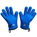 Heat Resistant BBQ Cooking Gloves & Oven Mitts. Insulated Silicone With Protective Lining. Versatile & Waterproof For BBQ Grill, Oven, Fire Pit, Campfire & Smoking. 5 Star Rated, In 3 Colors (Blue)