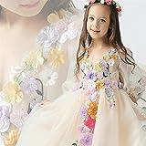 子供 ドレス 結婚式 発表会 カラフルお花飾り キッズ ガールズ ワンピース フォーマルパーティー 可愛い (150cm)