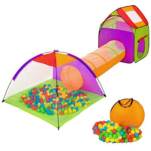 tectake-tenda-igloo-per-bambini-con-tunnel-200-palline-tenda-tascabile-tenda-da-gioco-con-palline-pe